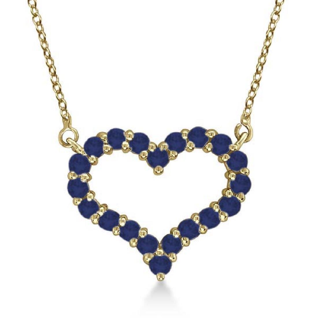Open Heart Sapphire Pendant Necklace 14k Yellow Gold 0.