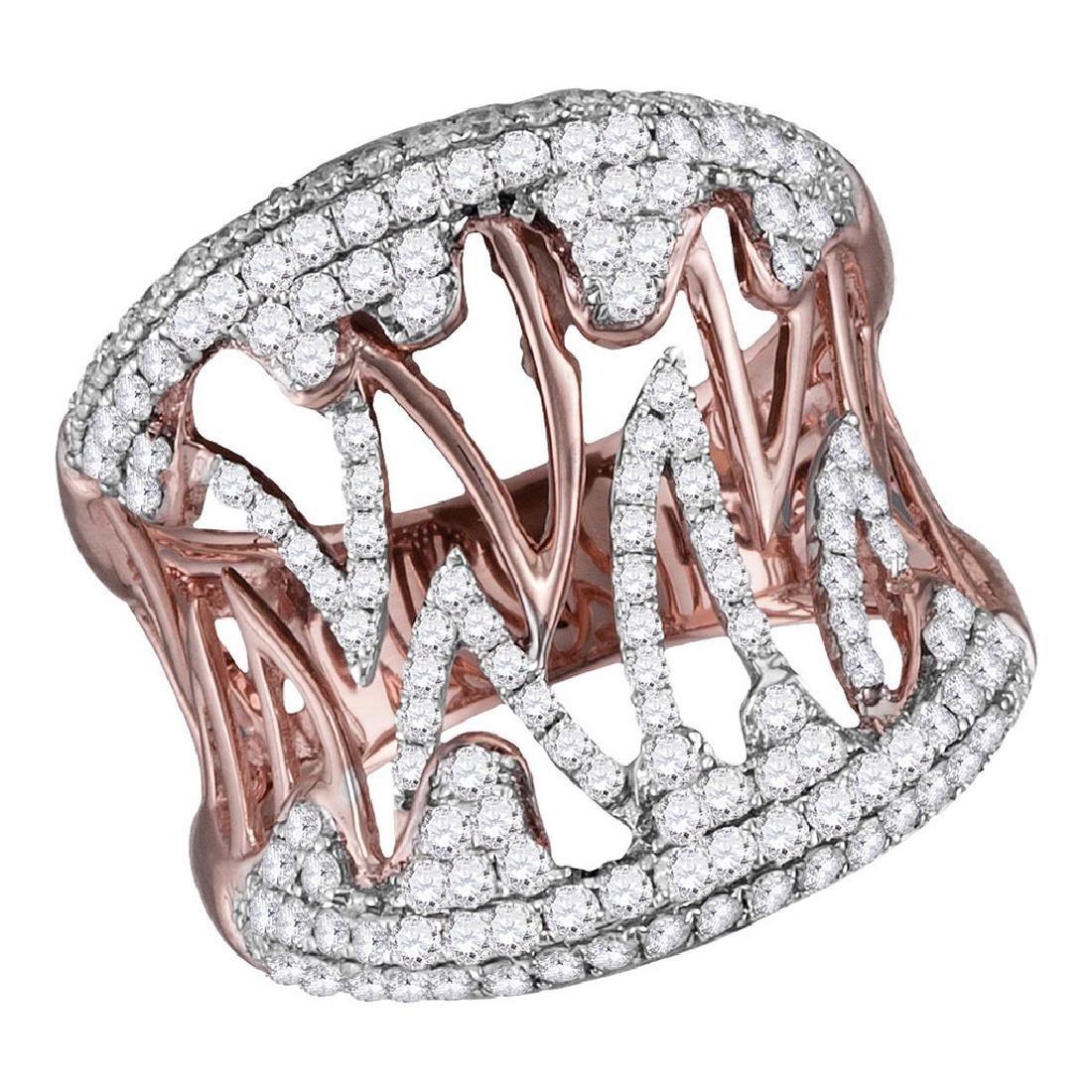 10K Rose Gold Womens Genuine Diamond Fashion Cocktail R