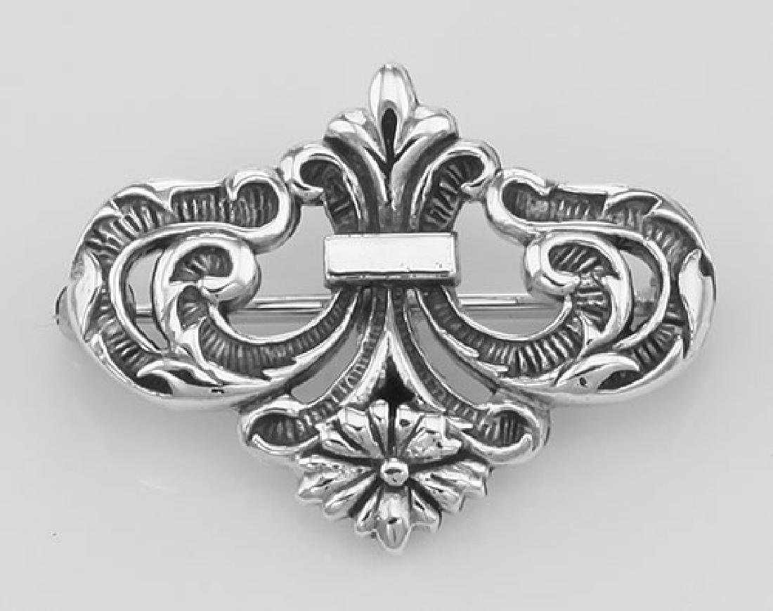 Watch Pin or Charm Hanger Pin - Sterling Silver