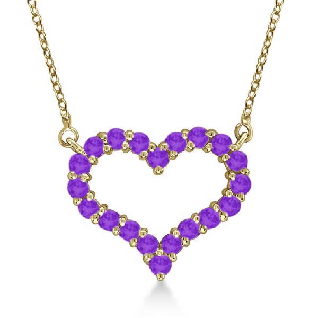 Open Heart Amethyst Pendant Necklace 14k Yellow Gold 0.