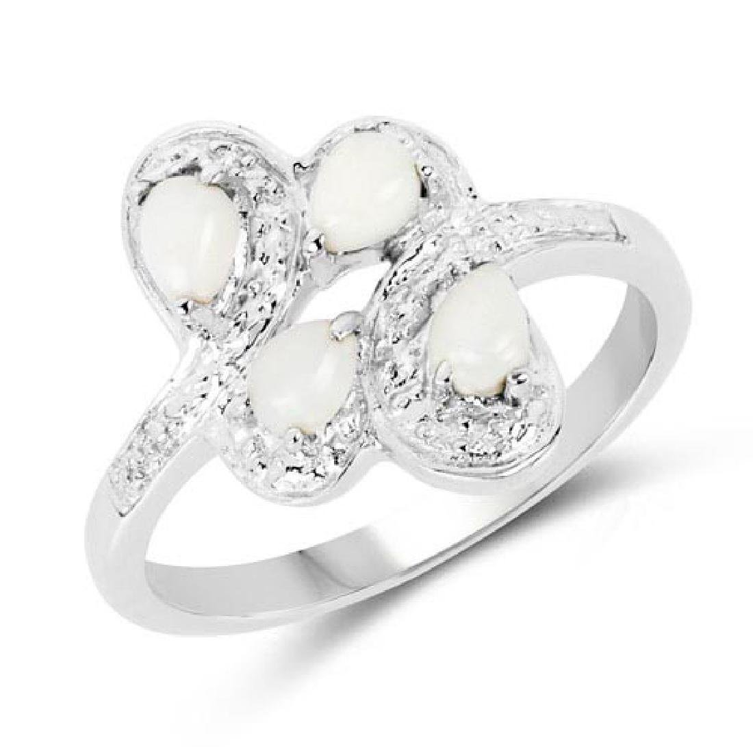 0.60 CTW Genuine Opal .925 Sterling Silver Ring