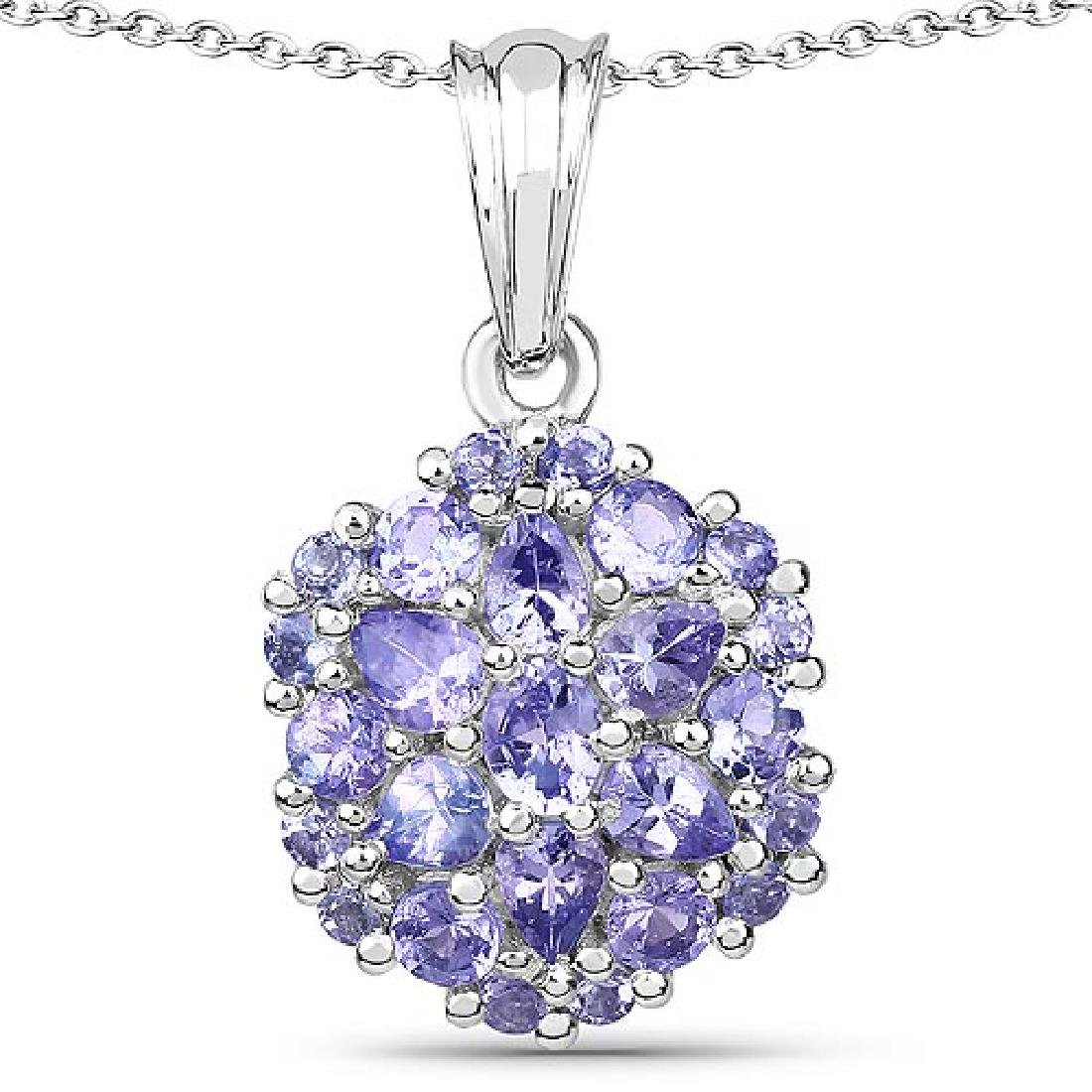 2.03 CTW Genuine Tanzanite .925 Sterling Silver Pendant