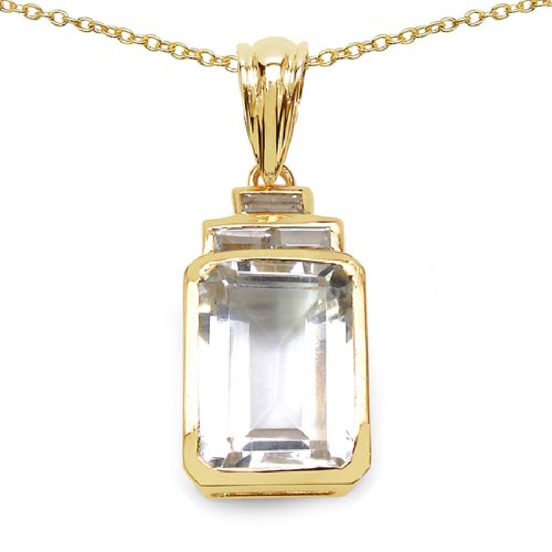 14K Yellow Gold Plated 7.70 CTW Genuine Crystal Quartz