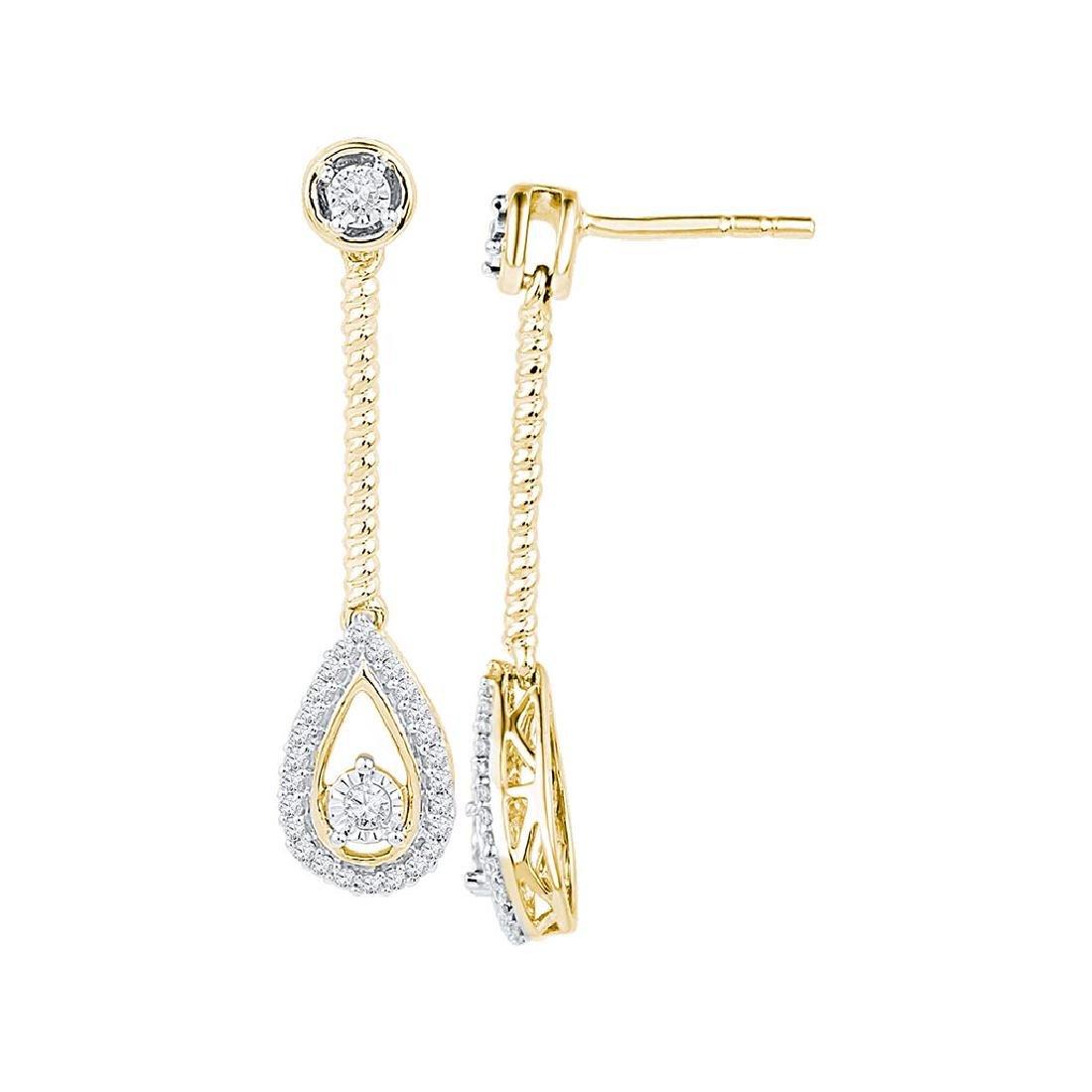 10kt Yellow Gold Womens Round Diamond Teardrop Screwbac