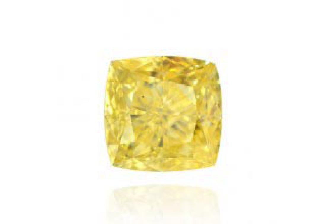 GIA CERTIFIED FANCY YELLOW 1 CTW RADIANT DIAMOND I1