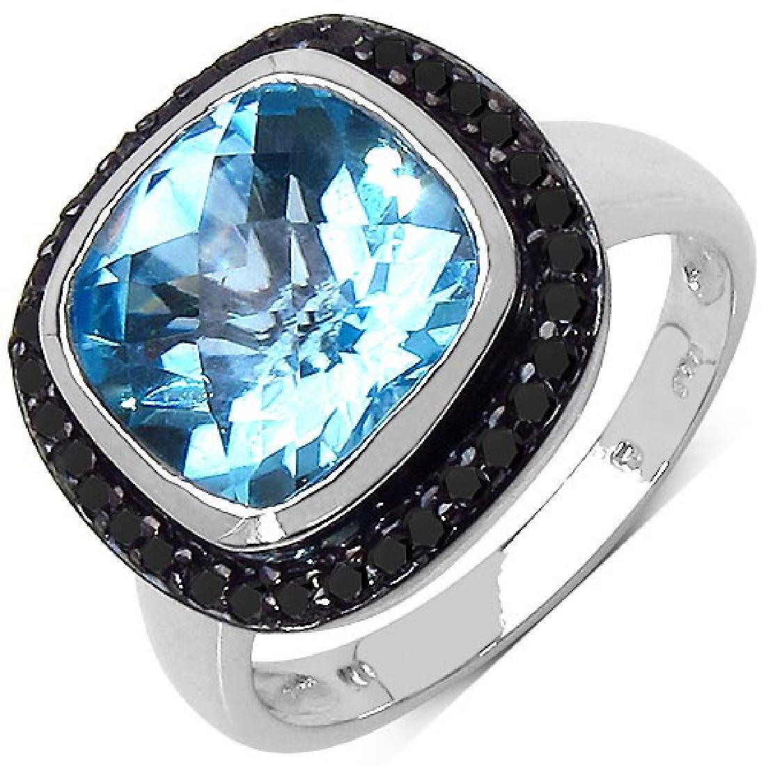 5.24 CTW Genuine Blue Topaz & Blue Diamond .925 Sterlin