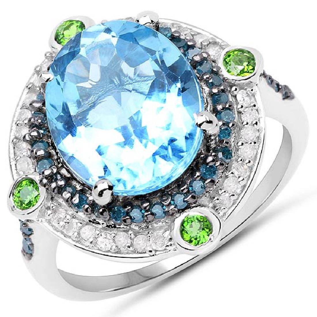 5.84 CTW Genuine Multi Stone .925 Sterling Silver Ring