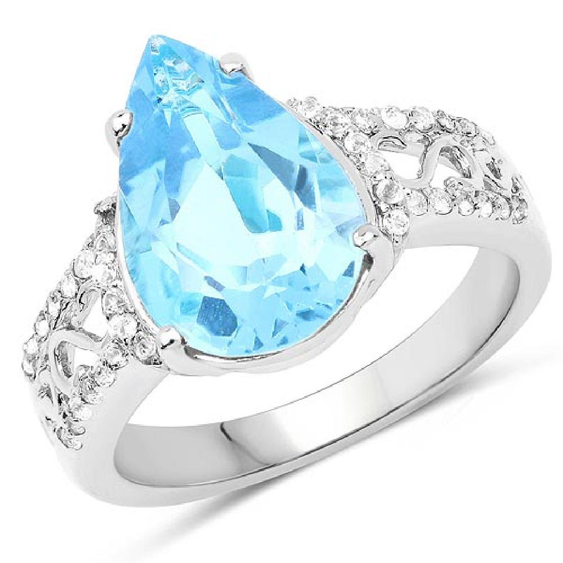 5.50 CTW Genuine Swiss Blue Topaz and White Topaz .925
