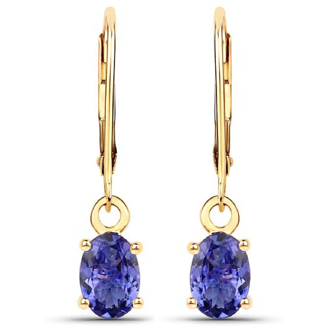 1.50 CTW Genuine Tanzanite 14K Yellow Gold Earrings