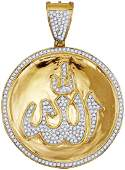 10kt Yellow Gold Mens Round Diamond Allah Medallion Cha