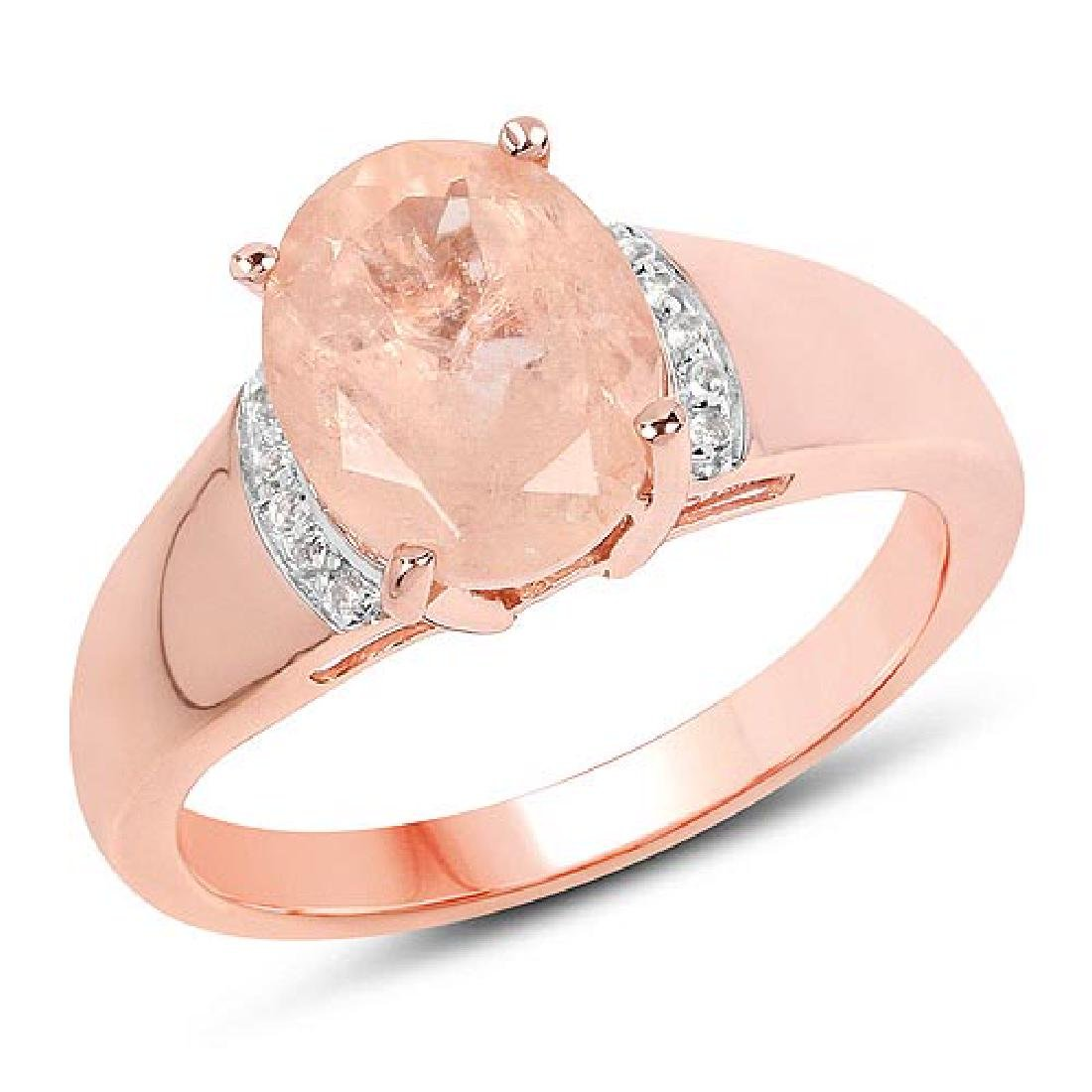 14K Rose Gold Plated 2.60 CTW Genuine Morganite and Whi