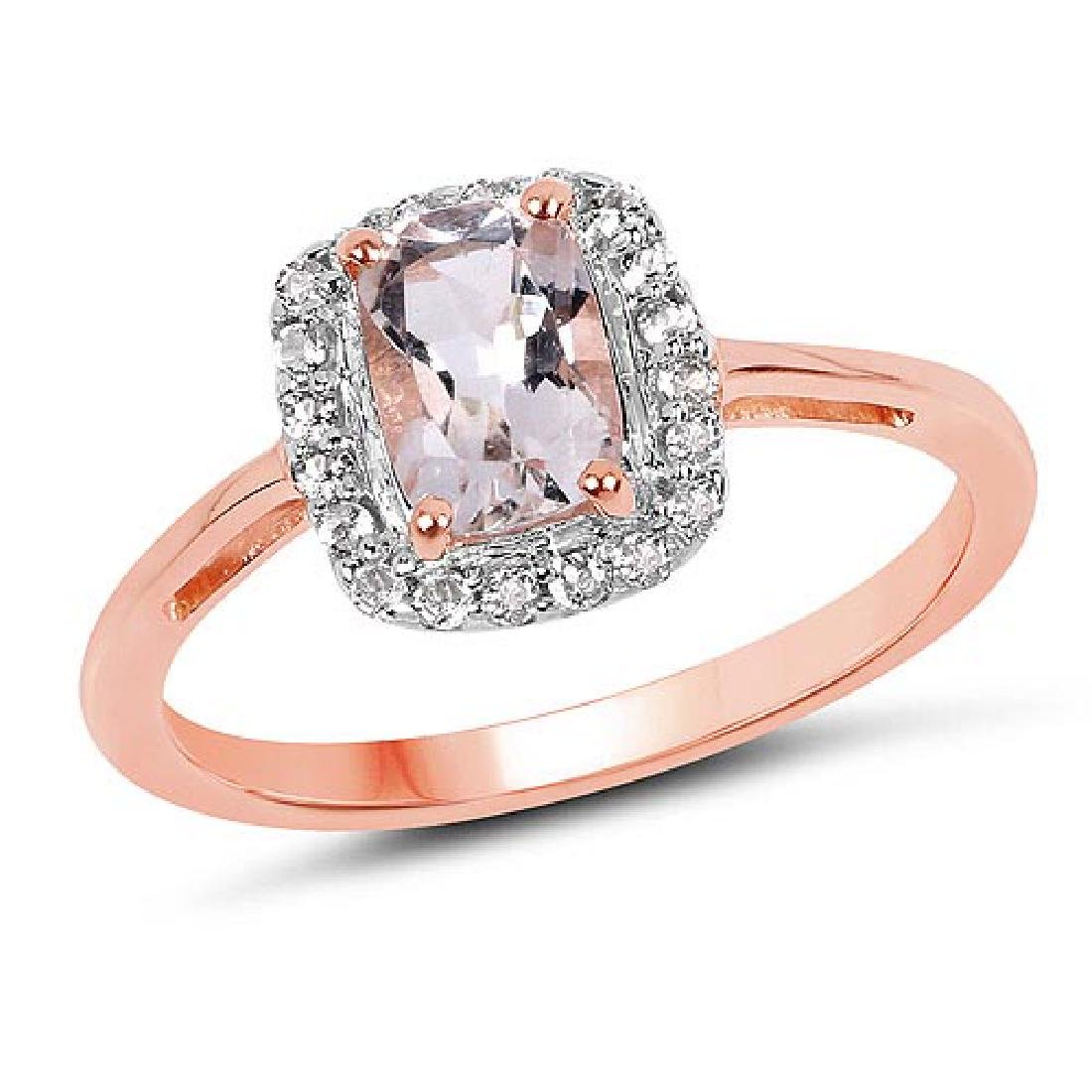 14K Rose Gold Plated 1.05 CTW Genuine Morganite and Whi