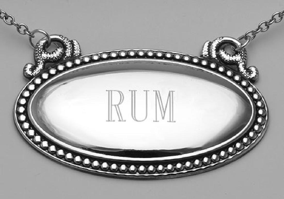 Rum Liquor Decanter Label / Tag - Oval beaded Border -