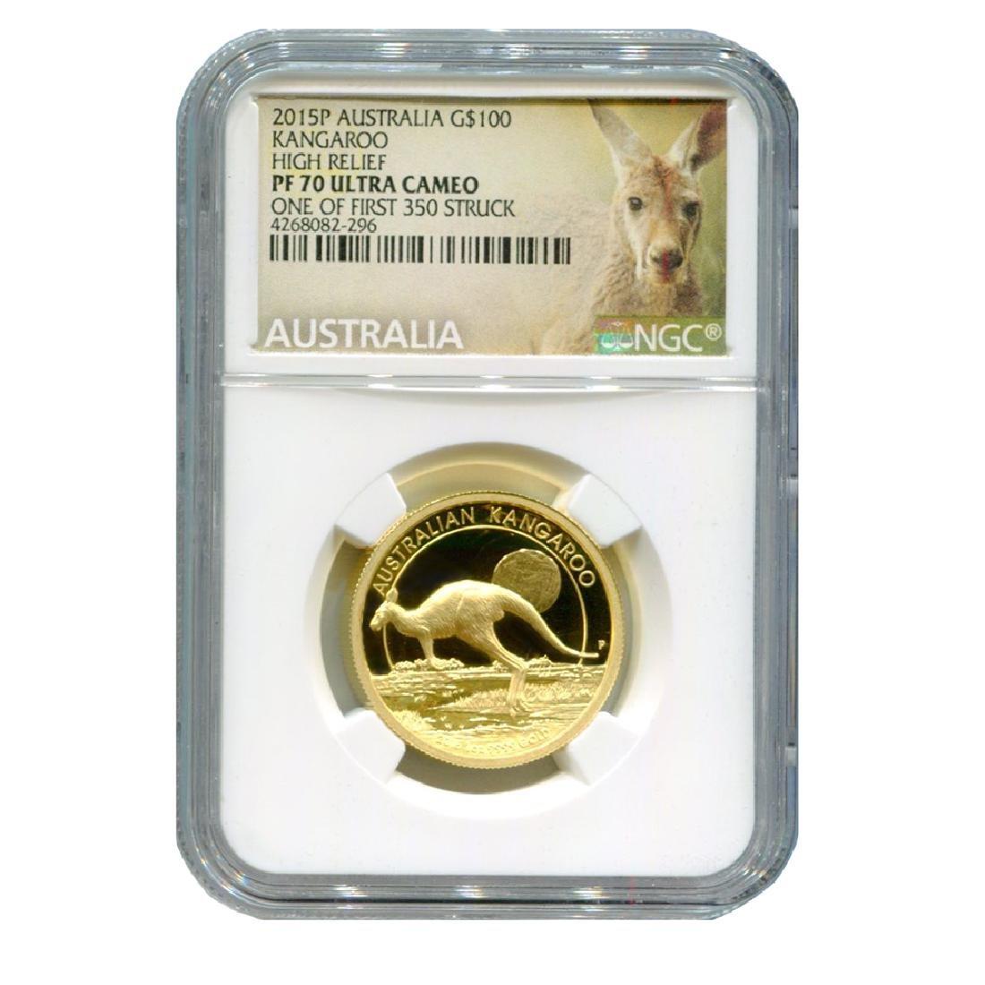 Certified Australian 1 oz Gold Kangaroo 2015 PF70 Ultra