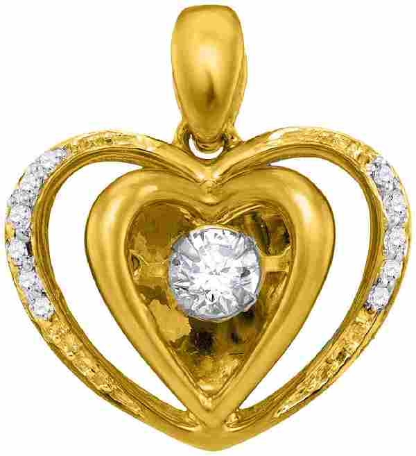 10kt Yellow Gold Womens Round Moving Twinkle Diamond He