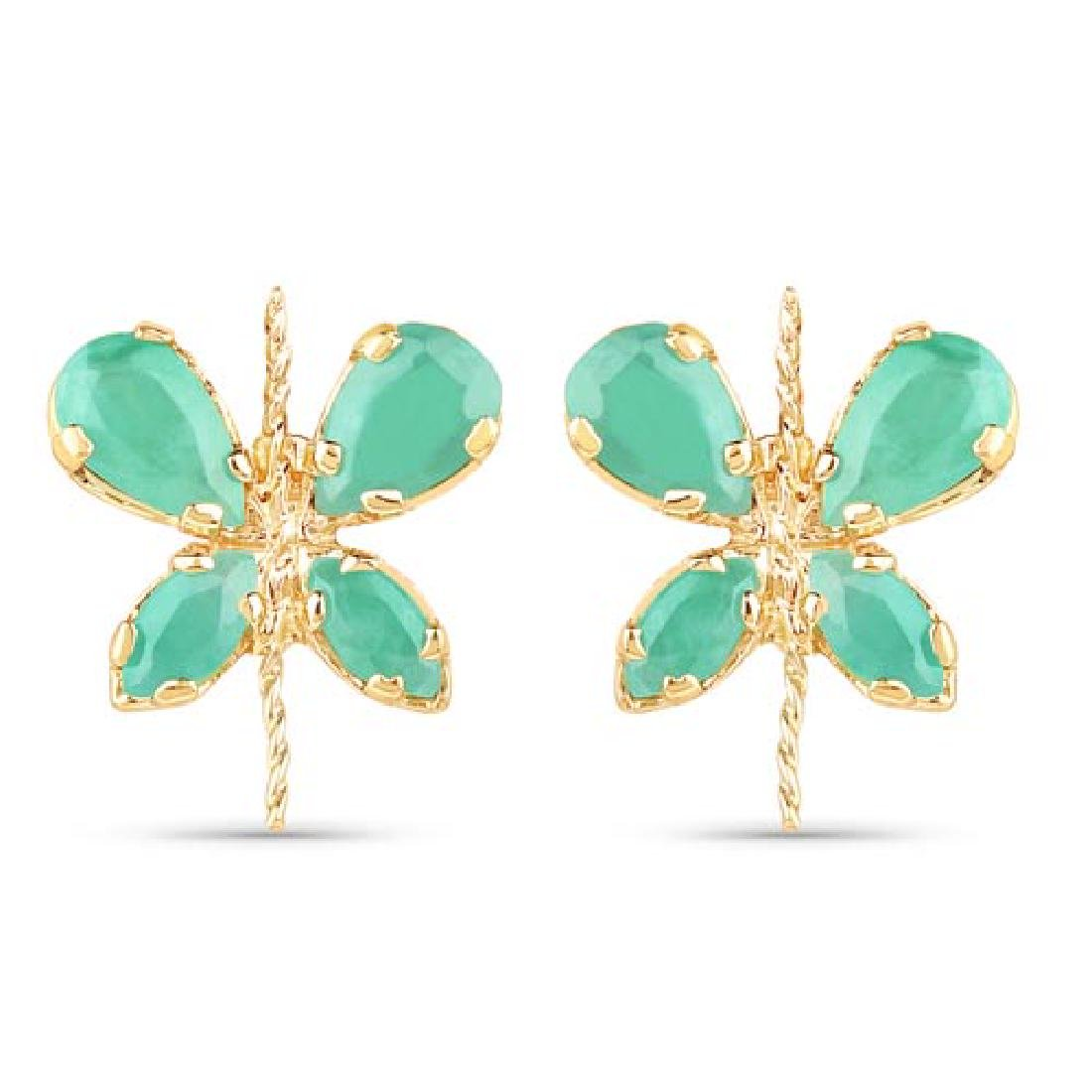 1.20 CTW Genuine Emerald 14K Yellow Gold Earrings