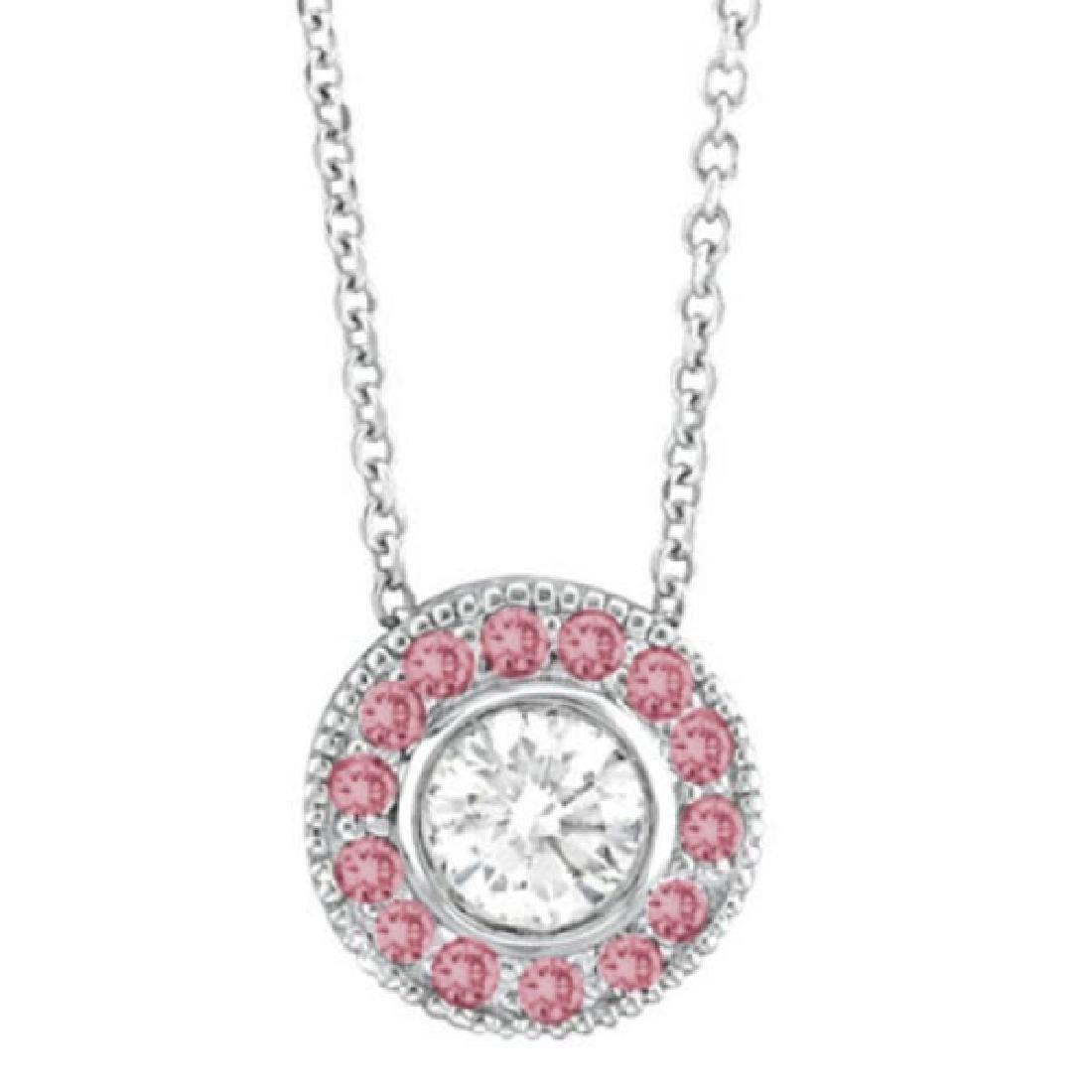 Halo Diamond & Pink Tourmaline Circle Pendant Necklace