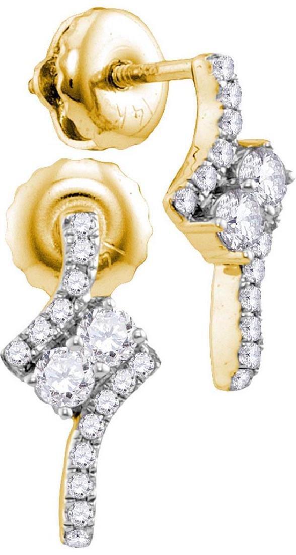 14kt Yellow Gold Womens Round Diamond 2-stone Earrings