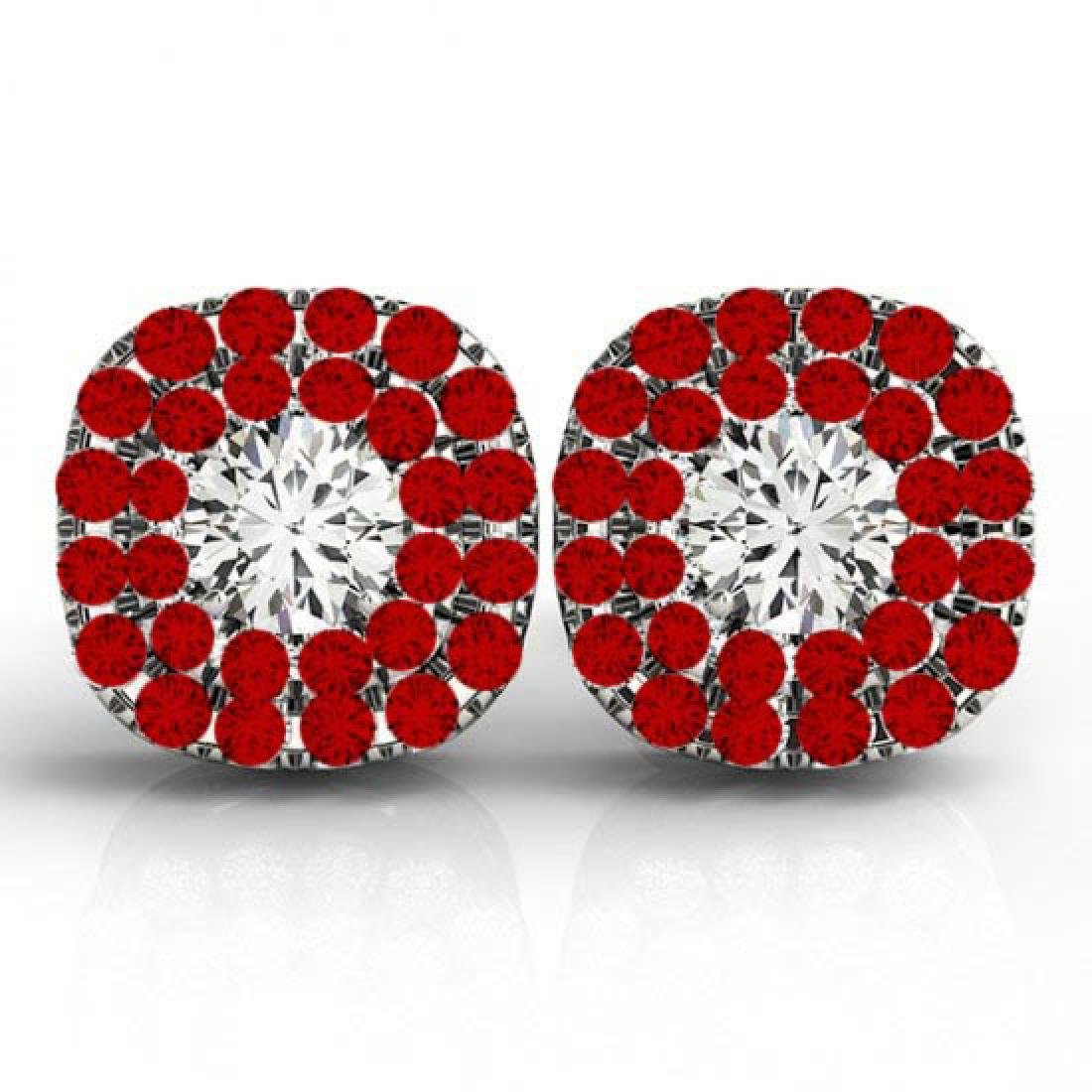 Round Cut Diamond & Ruby Double Cushion Halo Stud Earri