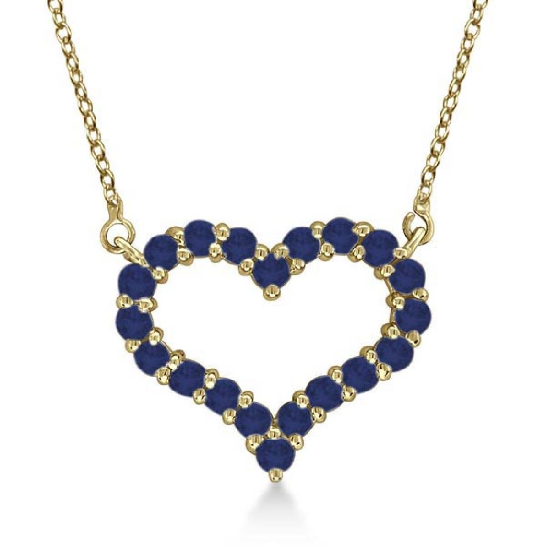 Open Heart Sapphire Pendant Necklace 14k Yellow Gold 0.