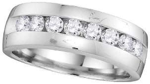 14kt White Gold Mens Round Diamond Wedding Anniversary