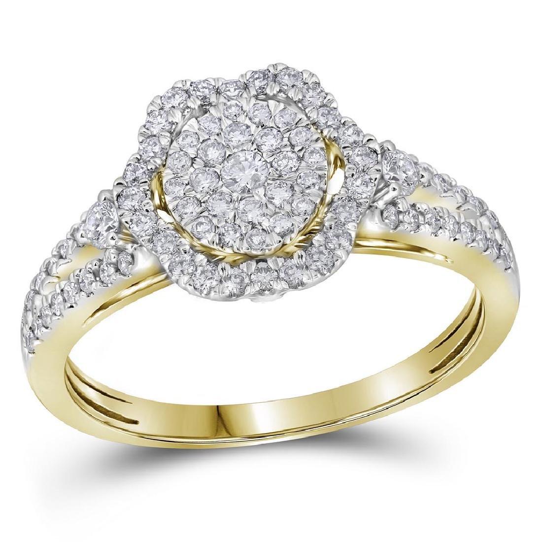 Womens 14K Yellow Gold Flower Diamond Cluster Wedding E