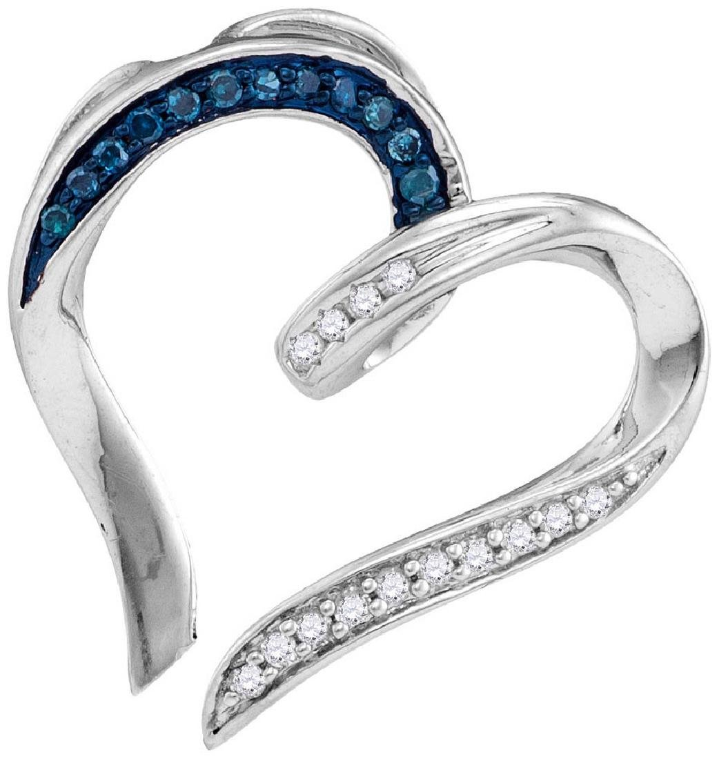 Sterling Silver Womens Round Blue Colored Diamond Bisec