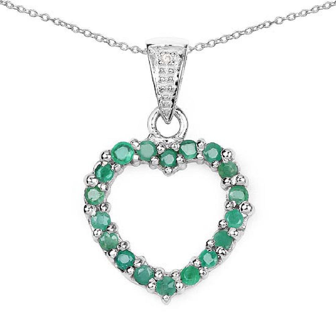 0.54 CTW Genuine Emerald and White Diamond .925 Sterlin