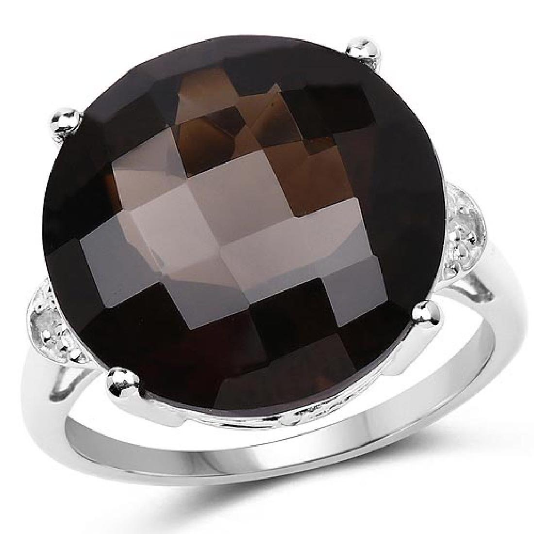 13.03 CTW Genuine Smoky Quartz and White Diamond .925 S