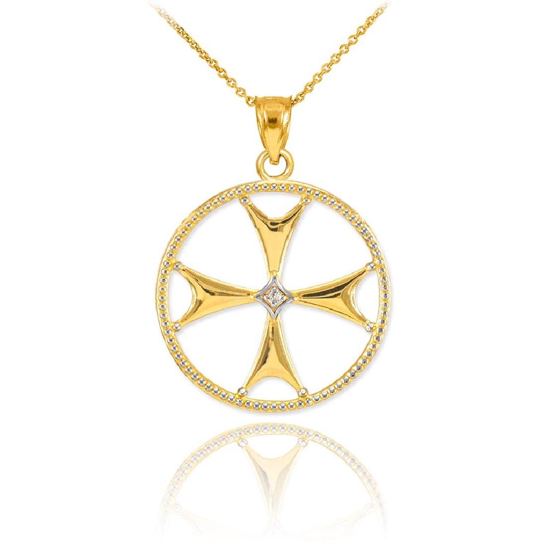10K Gold Diamond Maltese Cross Pendant