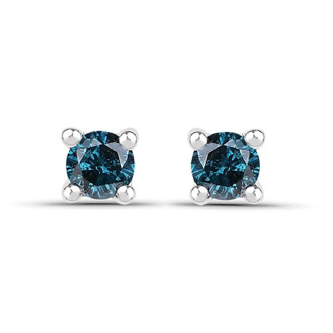 0.20 CTW Genuine Blue Diamond .925 Sterling Silver Earr
