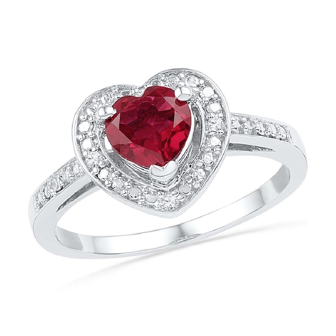 Sterling Silver Womens Round Lab-Created Ruby Heart Dia