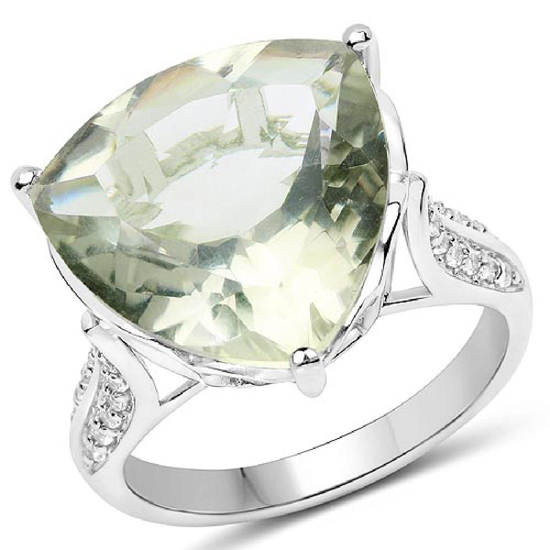 8.11 CTW Genuine Green Amethyst and White Topaz .925 St