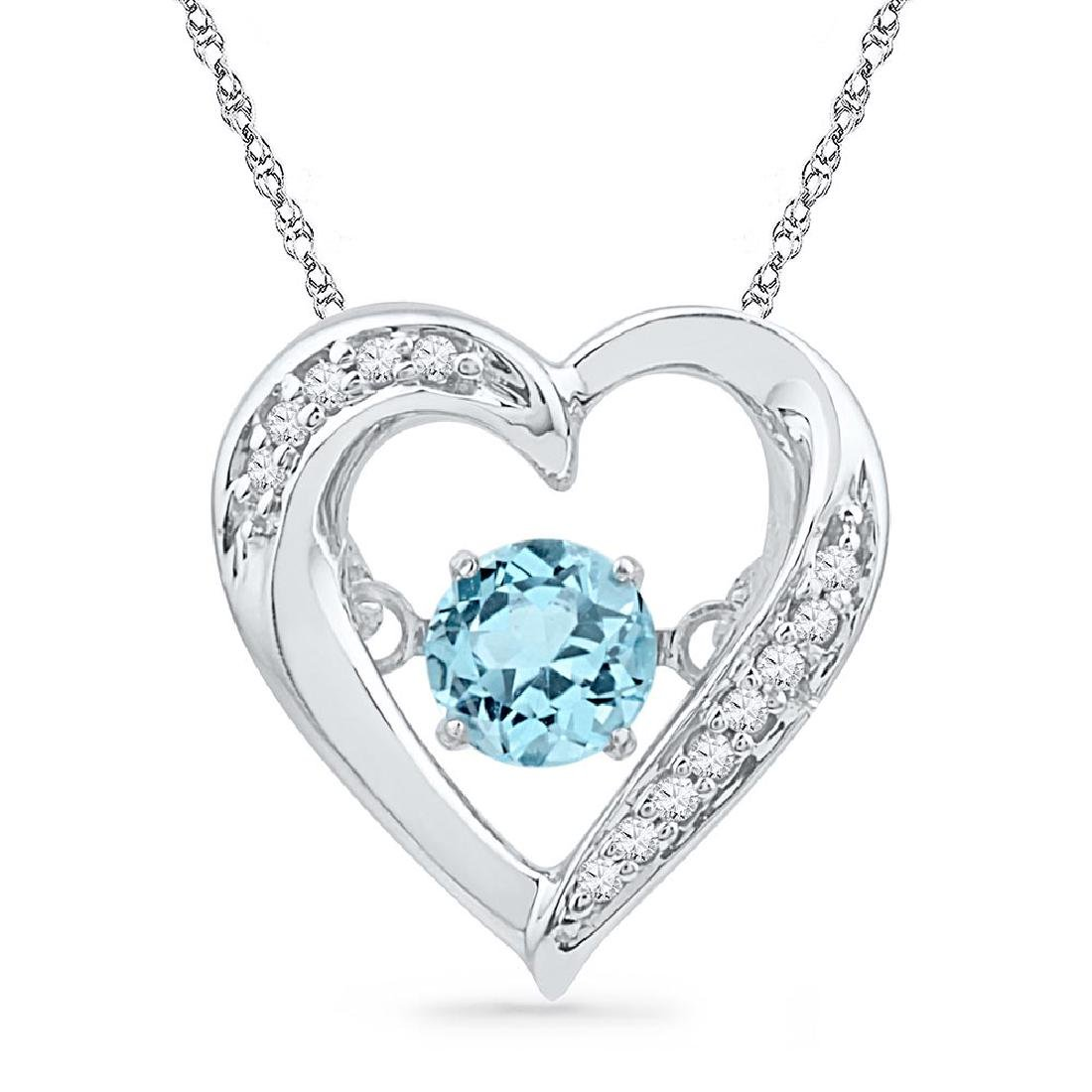 Sterling Silver Womens Round Lab-Created Blue Topaz Mov