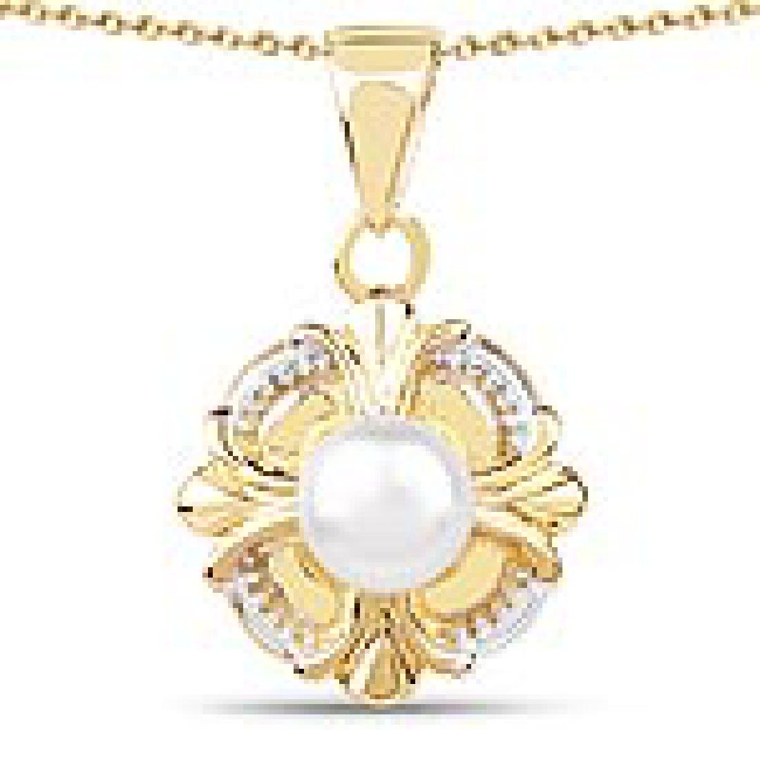 14K Yellow Gold Plated 1.00 CTW Genuine Pearl .925 Ster