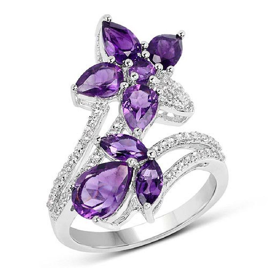 3.19 CTW Genuine Amethyst and White Topaz .925 Sterling