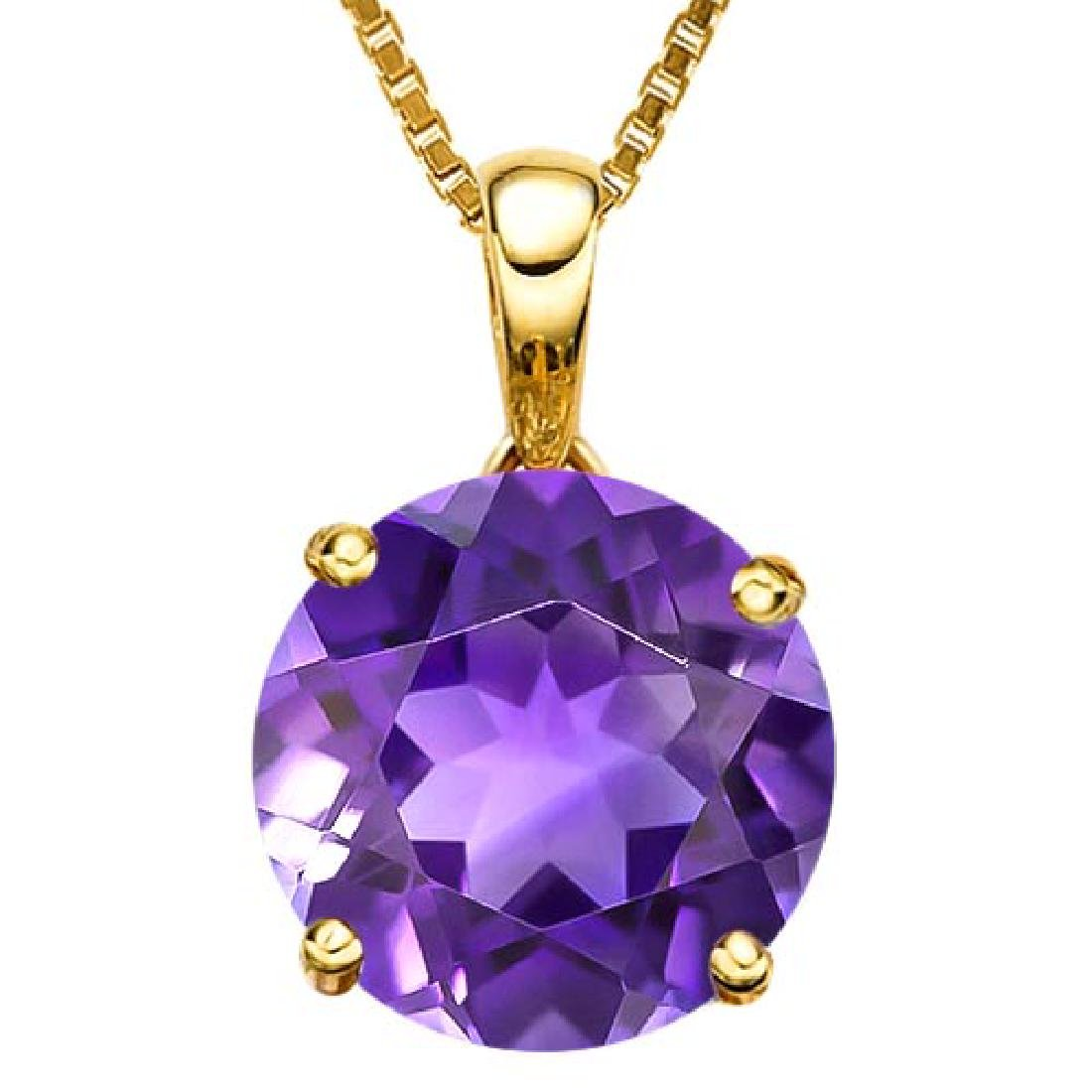 0.7 CTW AMETHYST 10K SOLID YELLOW GOLD ROUND SHAPE PEND