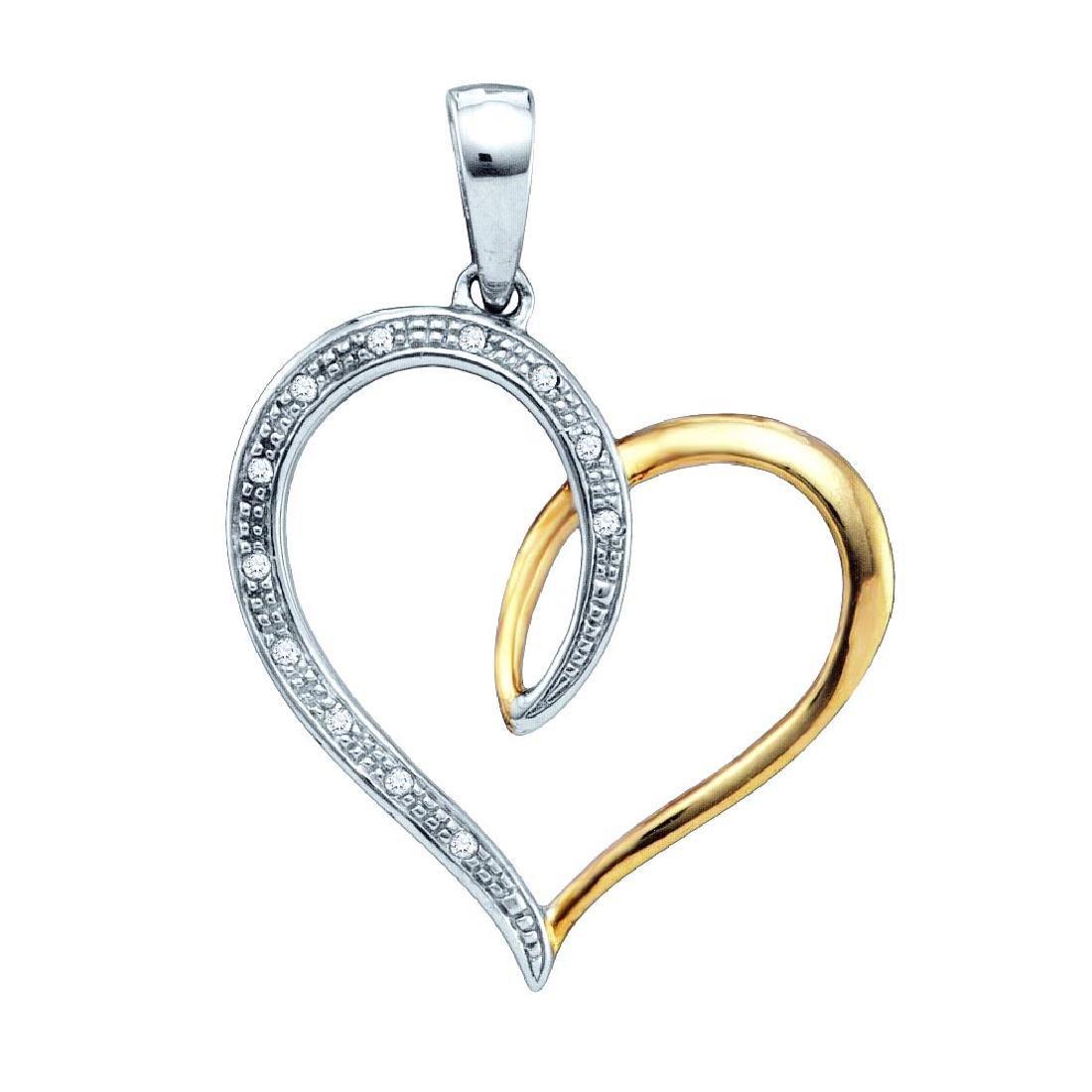 Sterling Silver Womens Round Diamond Two-tone Heart Pen