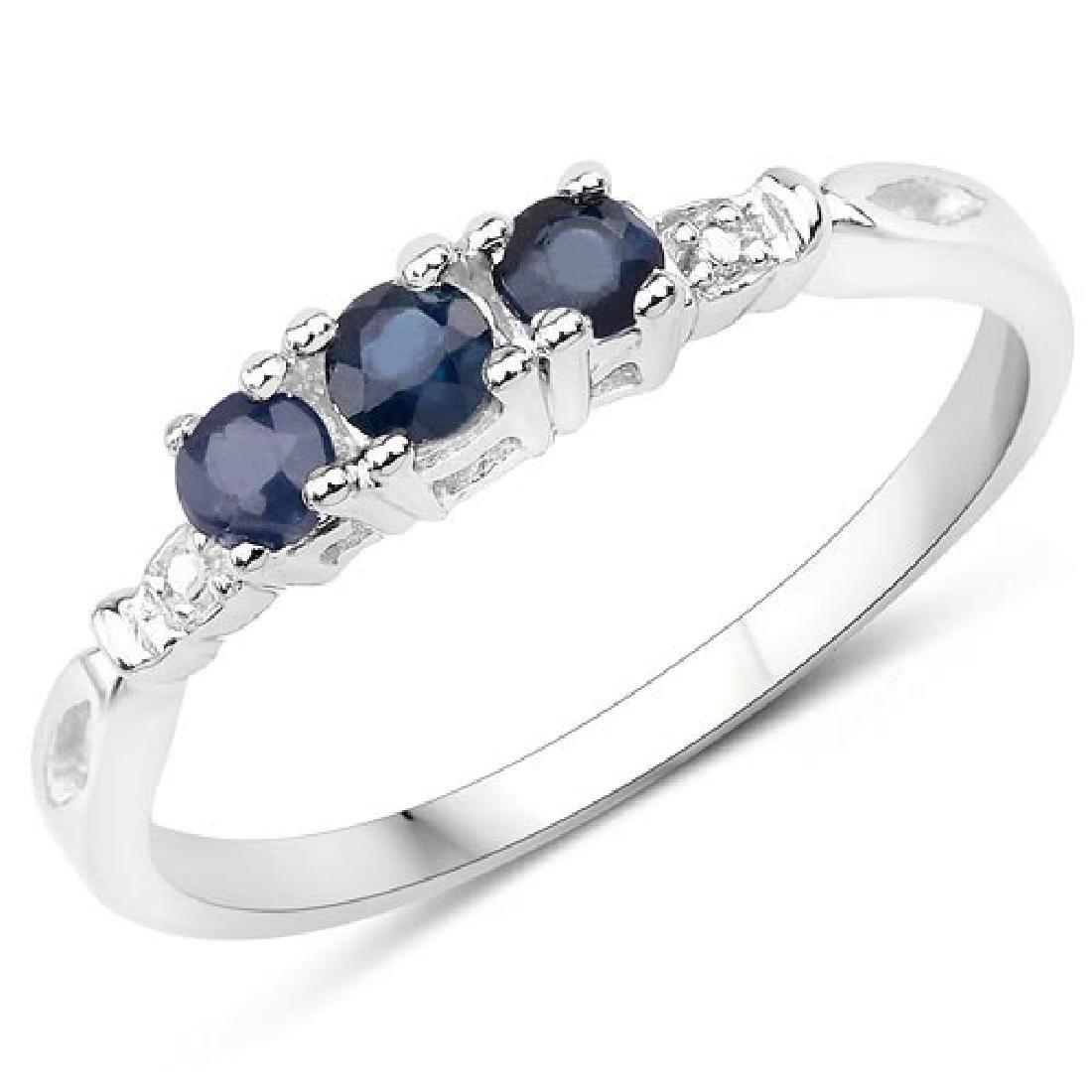 0.34 CTW Genuine Blue sapphire .925 Sterling Silver Rin