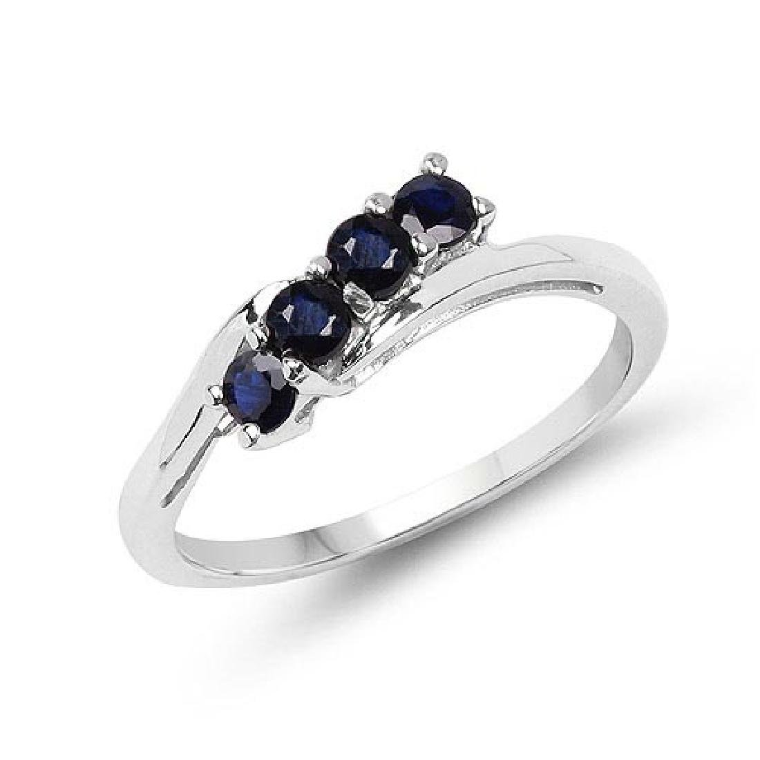 0.40 CTW Genuine Blue Sapphire .925 Sterling Silver Rin