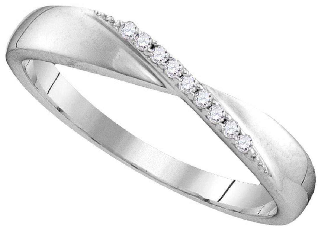 Sterling Silver Womens Round Diamond Crossover Single R