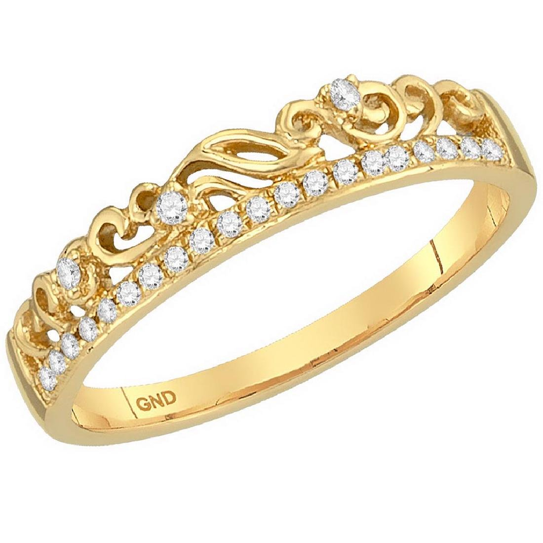 10kt Yellow Gold Womens Round Diamond Floral Accent Sta