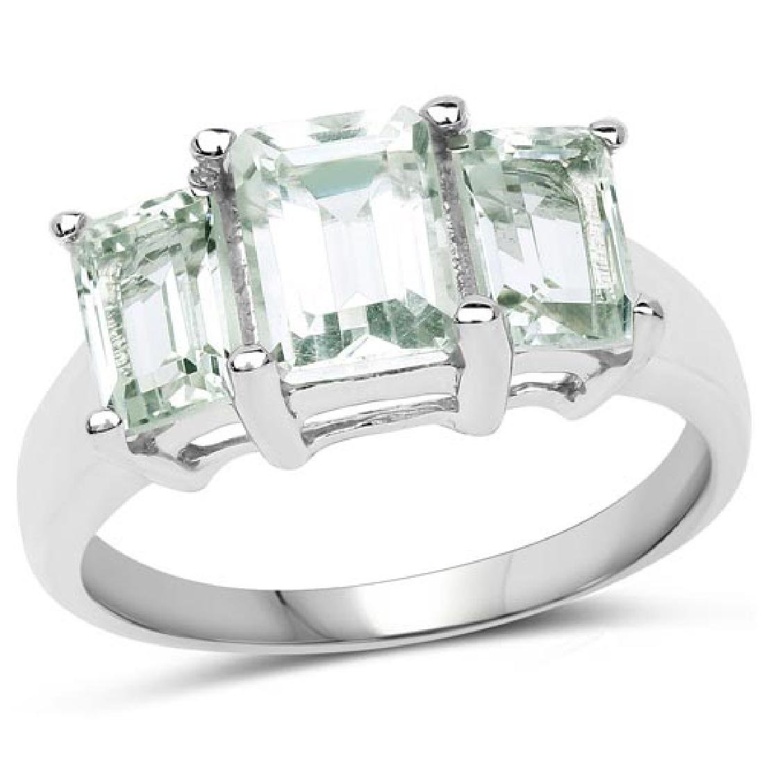 2.21 CTW Genuine Green Amethyst .925 Sterling Silver Ri