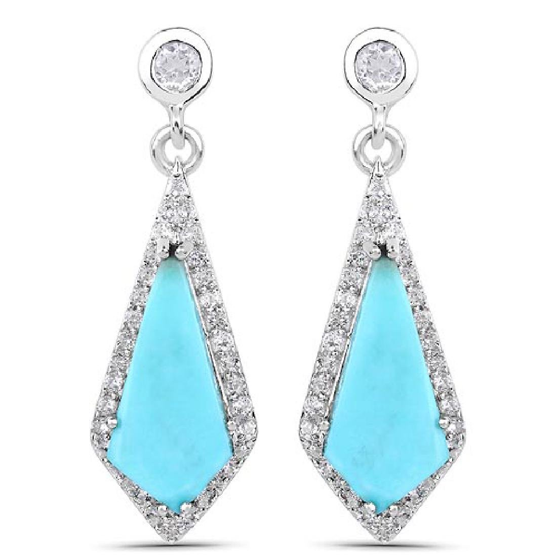 3.15 CTW Genuine Turquoise and White Topaz .925 Sterlin