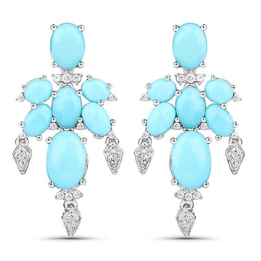 9.67 CTW Genuine Turquoise and White Topaz .925 Sterlin