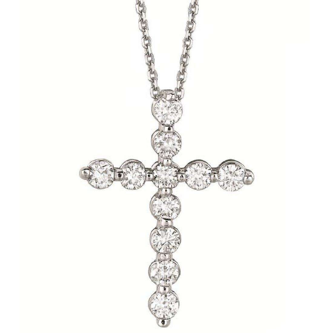 Diamond Cross Pendant Necklace in 14k White Gold (1.01c