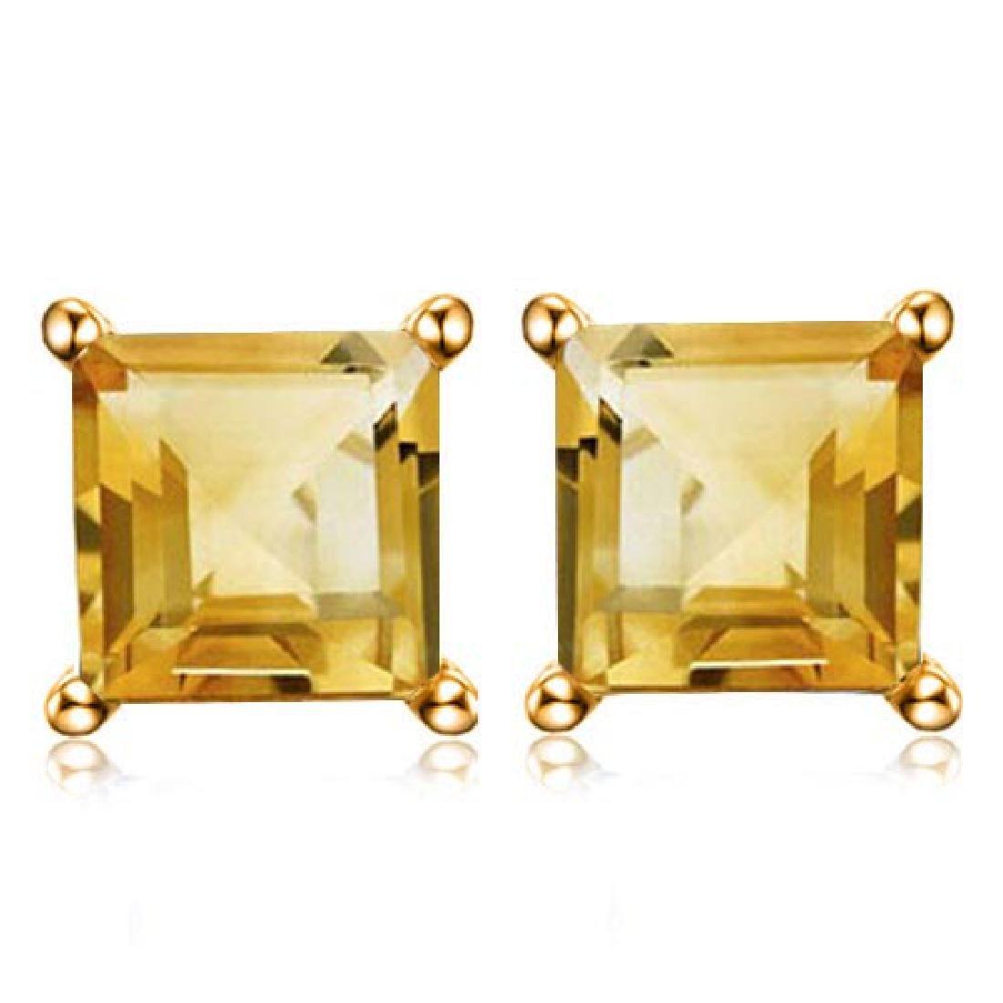 1.9 CTW CITRINE 10K SOLID WHITE GOLD SQUARE SHAPE EARRI
