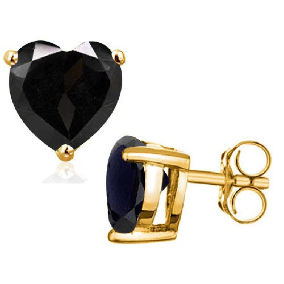 2.0 CTW BLACK SAPPHIRE 10K SOLID YELLOW GOLD HEART SHAP
