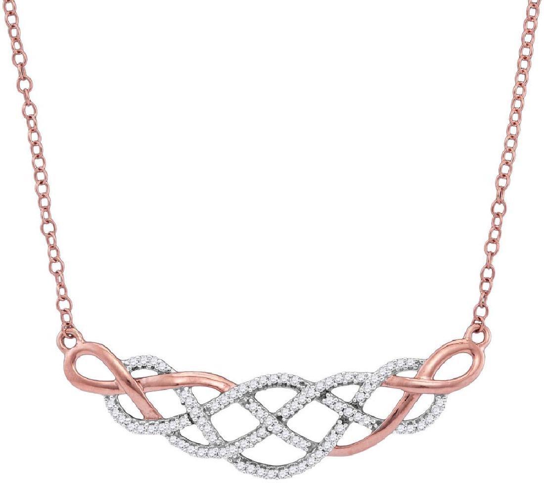 10kt Rose Gold Womens Round Diamond Woven Strand Cluste