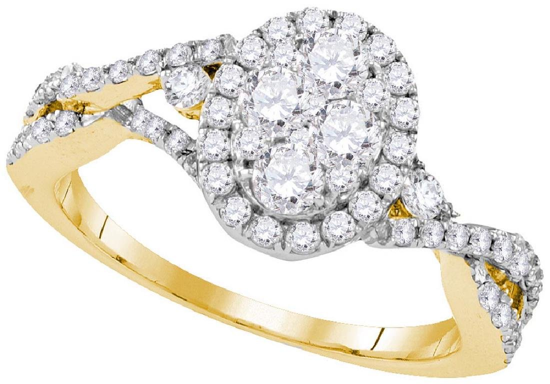 10kt Yellow Gold Womens Round Diamond Oval Cluster Halo